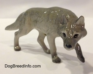 The front right side of a figurine of a gray Wolf stalking. The figurine has long legs.